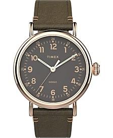 Men's Standard Green Leather Strap Watch 40mm