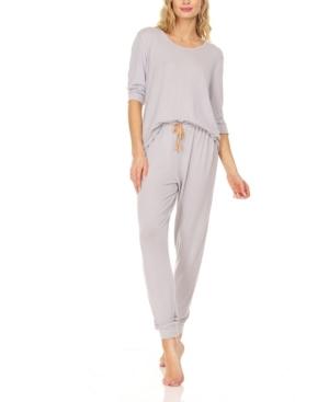 Women's Hacci Three Quarter Sleeve Top with Jogger Pants Loungewear Set