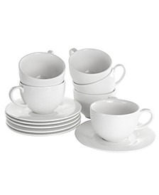 Cafe Cup and Saucer Set of 12 Pieces