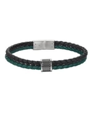 Stainless Steel Black and Green Leather Bracelet
