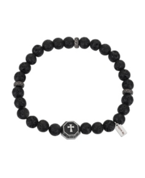 Stainless Steel Small Cross Medallion and Lava Bead Stretch Bracelet