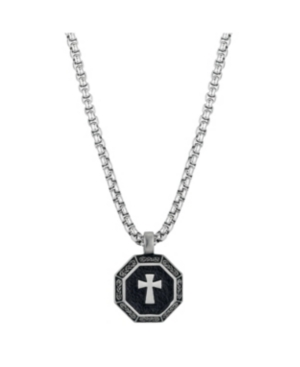 Stainless Steel Small Cross Medallion Pendant Necklace