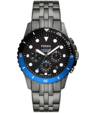 FOSSIL MEN'S FB-01 CHRONOGRAPH MOVEMENT, GRAY STAINLESS STEEL BRACELET WATCH 42MM