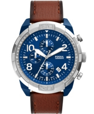 FOSSIL MEN'S BRONSON CHRONOGRAPH MOVEMENT, BROWN LEATHER WATCH 50MM
