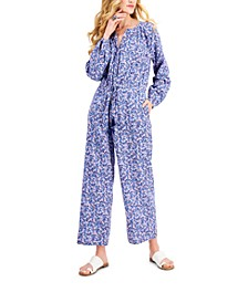 Drawstring Floral-Print Jumpsuit, Created for Macy's