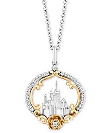 "Diamond Belle Castle & Rose 18"" Pendant Necklace (1/6 ct. t.w.) in Sterling Silver & 14k Gold"