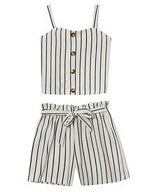 Big Girls Stripe Paper Bag Shorts Set