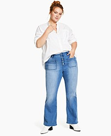 Plus Size Button-Fly Bootcut Jeans, Created for Macy's