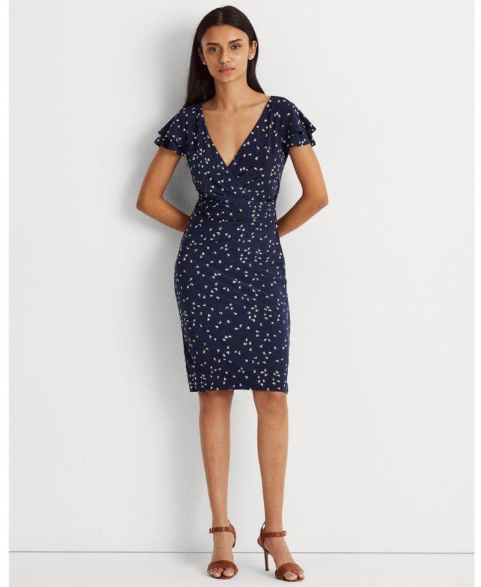 Lauren Ralph Lauren Print Jersey Surplice Dress & Reviews - Dresses - Women - Macy's