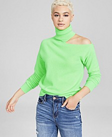 Cashmere Cold-Shoulder Turtleneck Sweater, Created for Macy's