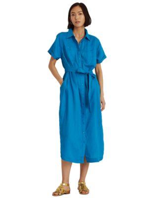로렌 랄프로렌 Lauren Ralph Lauren Belted Shirtdress,Summer Topaz