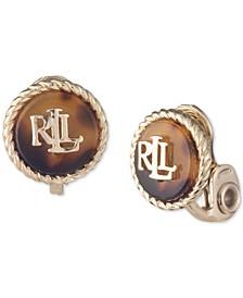 Gold-Tone Logo Tortoise-Look Clip-On Button Earrings