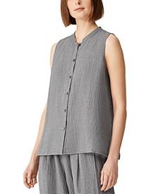 Mandarin-Collar Sleeveless Top