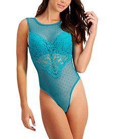 Women's Cupped Swiss Dot Thong Bodysuit, Created for Macy's