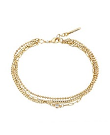 Gold Flash-Plated Cubic Zirconia Triple Strand Bracelet