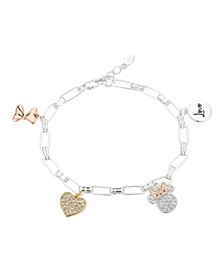 """Gold Flash-Plated Cubic Zirconia Minnie Mouse """"Love"""" Charm Link Bracelet"""
