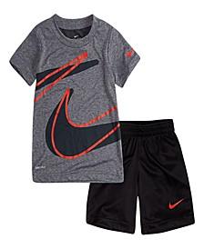 Little Boys Dry-Fit Drop Set Graphic T-shirt and Shorts Set, 2 Piece