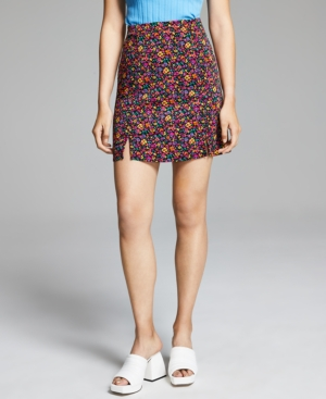 Women's Printed Hem-Slit Skirt