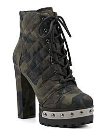 Women's Irella High Heeled Platform Lace Up Booties