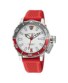 Men's Analog Red Silicone Strap Watch 46 mm