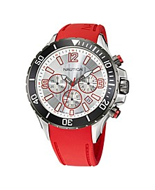 Men's Analog Red Silicone Strap Watch 49 mm