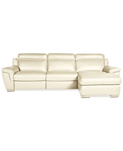 Julius 3 pc leather chaise sectional with 2 power for 3pc sectional with chaise