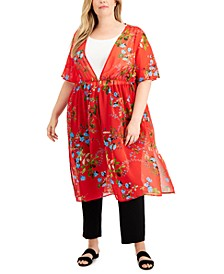 Plus Size Sheer Floral-Print Duster Top