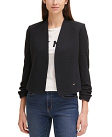 Textured Ruched-Sleeve Open-Front Cropped Blazer