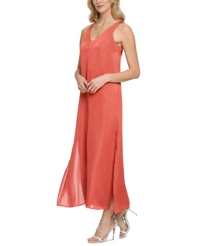 DKNY Sleeveless Side Slit Maxi Dress & Reviews - Dresses - Women - Macy's