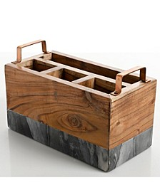 Laurie Gates Wood & Marble Utensil Caddy