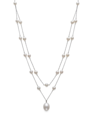 """Cultured Freshwater Pearl (5-6mm & 9-10mm) 16"""" Layered Necklace in Sterling Silver"""