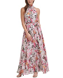 Floral-Print Halter-Neck Maxi Dress