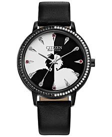 Eco-Drive Women's Cruella Black Leather Strap Watch 36mm