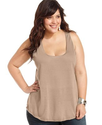 american rag trendy plus size racerback tank top, created for