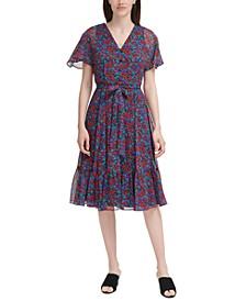 Flutter-Sleeve Midi Dress