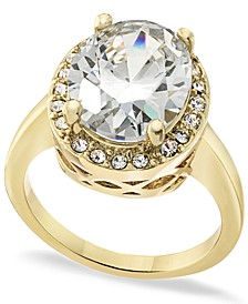 Gold Plated Pavé & Oval Crystal Halo Ring, Created for Macy's