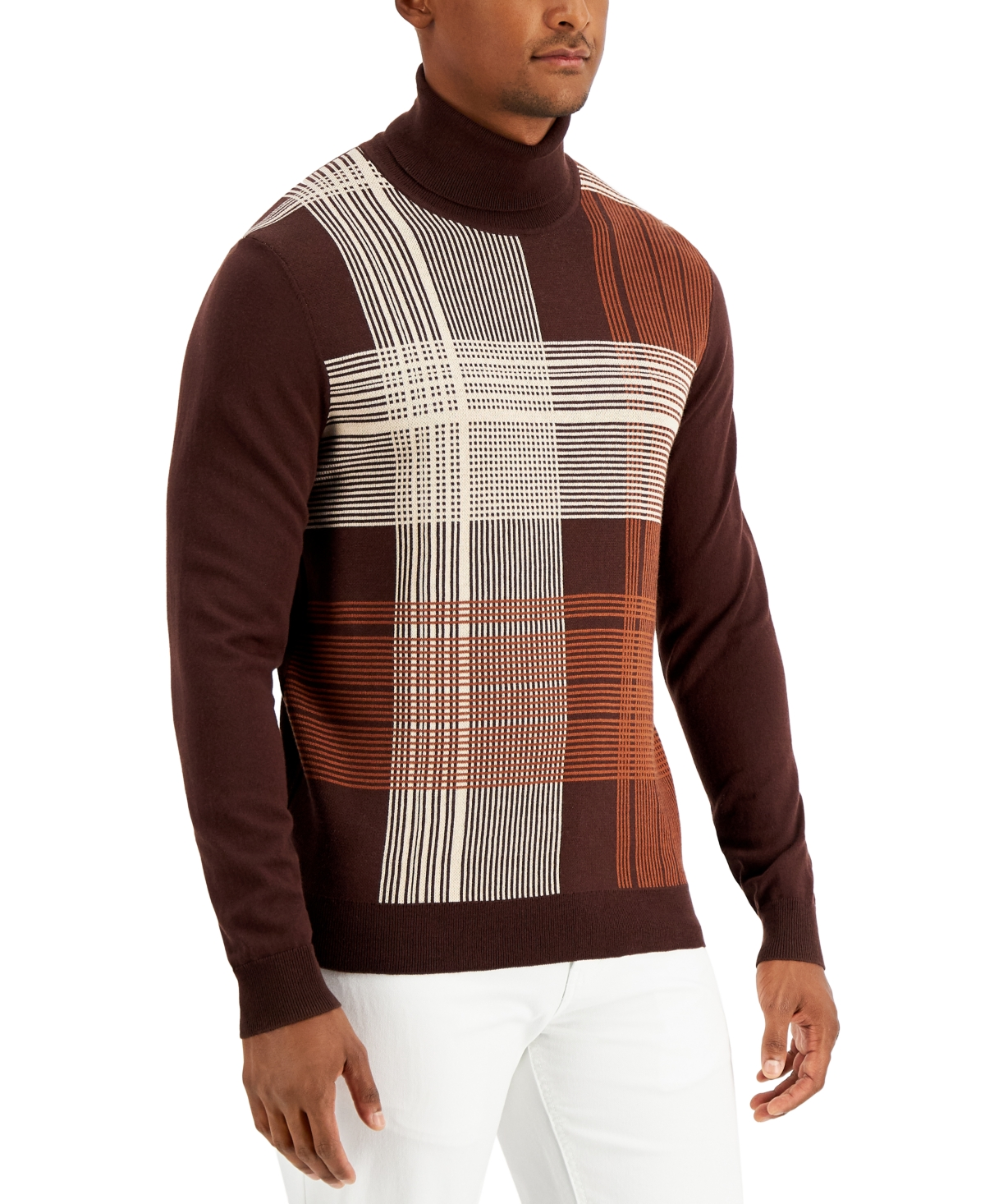 1960s Mens Shirts | 60s Mod Shirts, Hippie Shirts Alfani Mens Plaid Turtleneck Sweater Created for Macys $60.00 AT vintagedancer.com