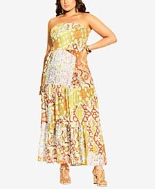 Plus Size Strapless Saffron Maxi Dress