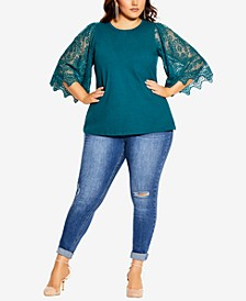 Plus Size Embroidered Sheer Sleeve Angel Top