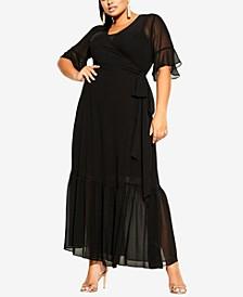 Trendy Plus Size Flutter Wrap Maxi Dress