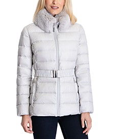 Faux-Fur-Collar Belted Down Packable Puffer Coat