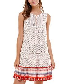 Juniors' Printed Lace-Appliqué Dress