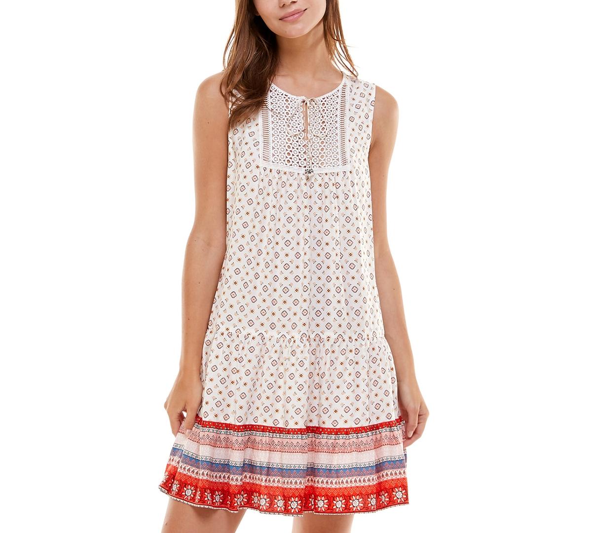 Juniors' Printed Lace-Applique Dress