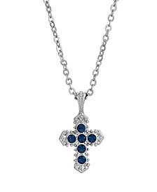 Silver-Tone Blue Cross Necklace