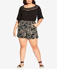 Trendy Plus Size Etched Frond Shorts