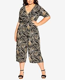 Trendy Plus Size Etch Frond Jumpsuit
