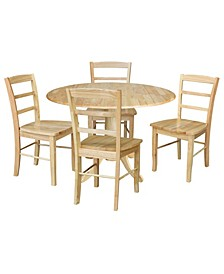 """42"""" Dual Drop Leaf Dining Table with 4 Madrid Ladderback Chairs, 5 Piece Dining Set"""