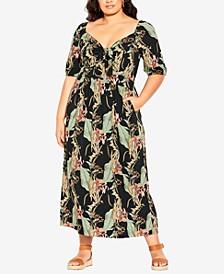 Trendy Plus Size Royal Palm Maxi Dress