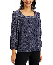 Cotton Printed Square-Neck Top, Created for Macy's