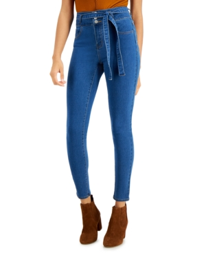 Belted Curvy High-Rise Skinny Jeans
